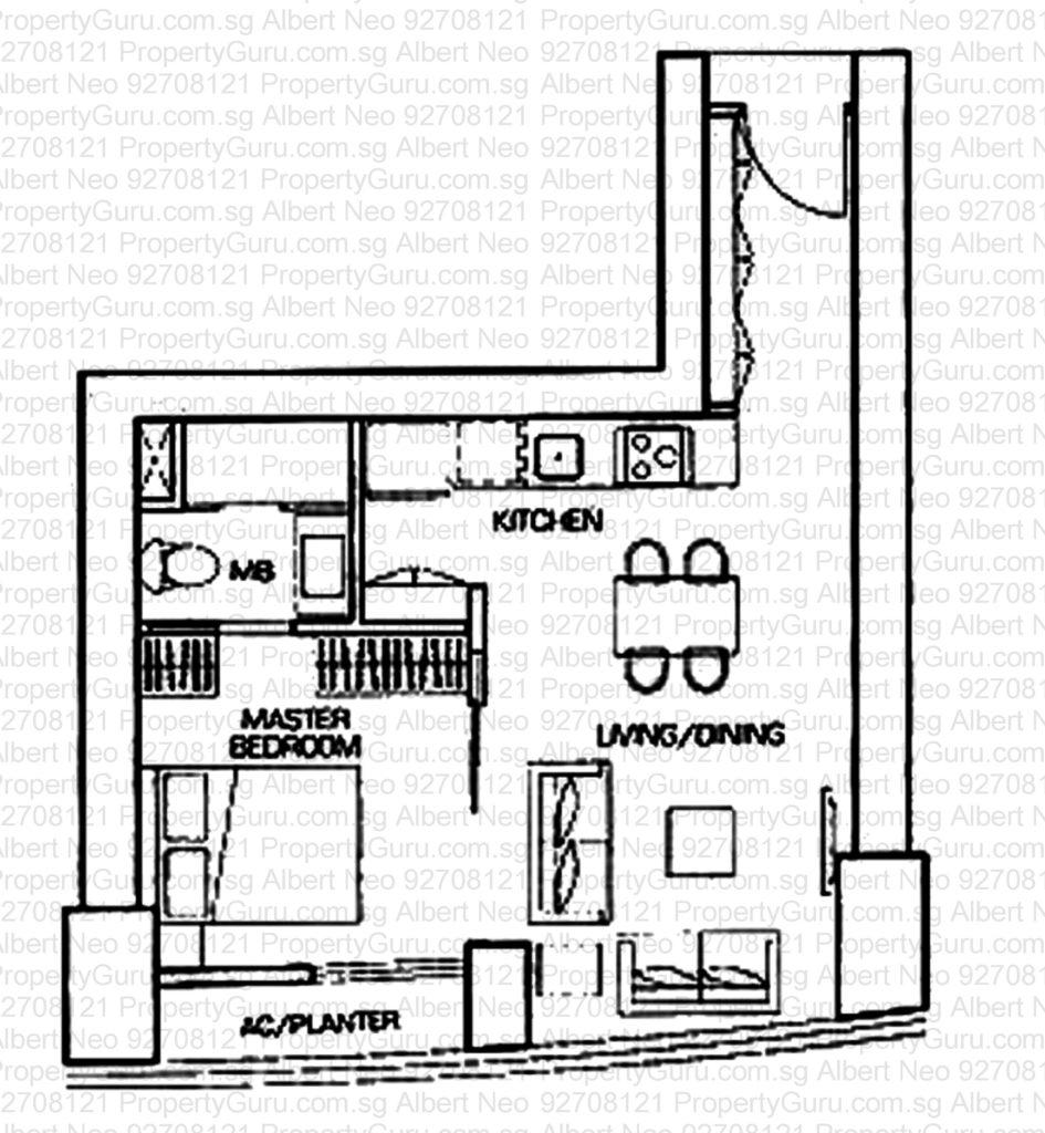 1 Bedroom 614 Sq Ft